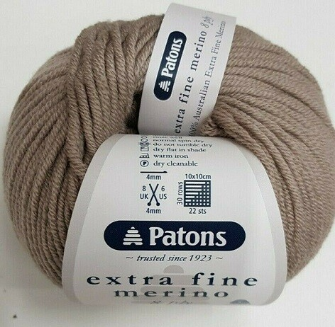 Patons Extra Fine Merino - Fawn- Colour 2115 - 8 ply - 50gm -108mtrs