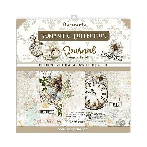 """Stamperia - Romantic Collection - Journal - 12"""" x 12"""" Papers - 10 Sheets - SBBL86"""