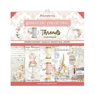Stamperia - Romantic Collection - Threads - Paper Pad 12 x 12