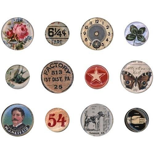 Tim Holtz - Idea - ology - Mini Flair Buttons - TH94129 - 12pcs