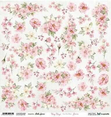 ScrapandMe - Rosy Days- Fussy Cutting 12 x 12 Sheet