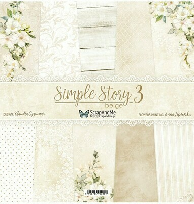 ScrapandMe - Simple Story Beige 3 - 12 x 12 Paper Collection