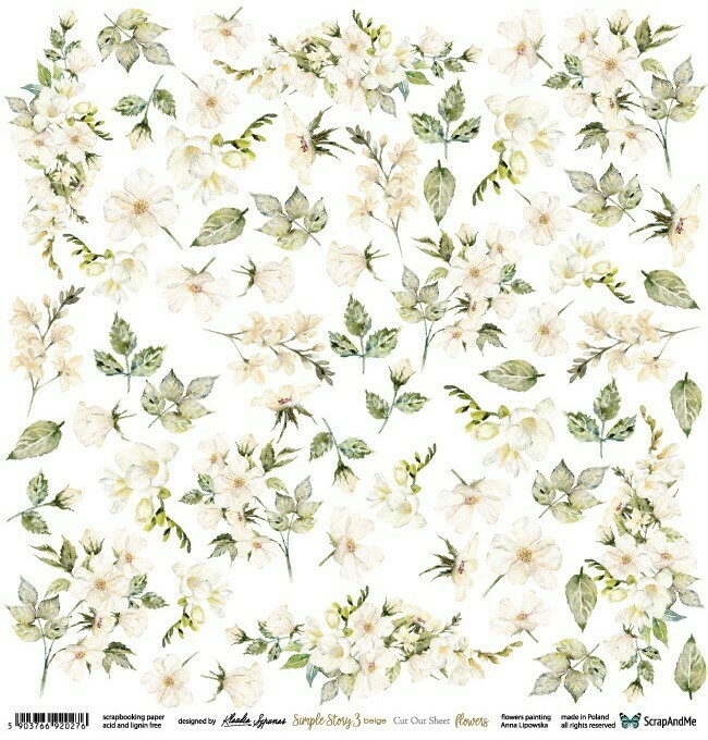 ScrapandMe - Simple Stories Beige 3 - Fussy Cutting 12 x 12 Sheet