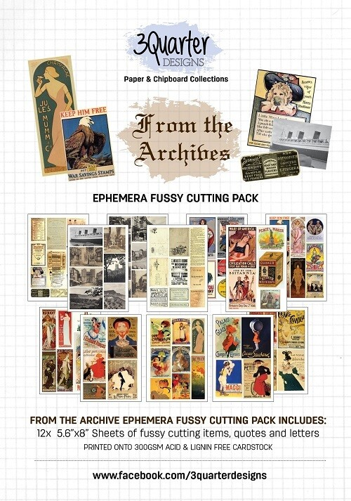 3 Quarter Designs - Ephemera Fussy Cutting Pack - From The Archives
