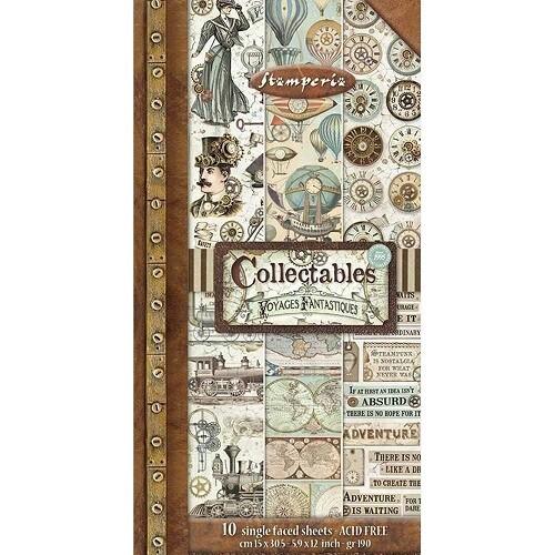 "Stamperia - Voyages Fantastiques- Collectables - 6"" x 12"" Paper Pack - SBBV03"