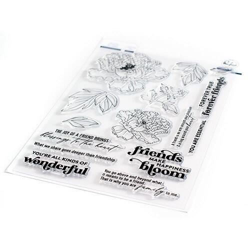 """PinkFresh Studios Stamp - Friendship Blooms - 6"""" x 8"""" - 105521"""