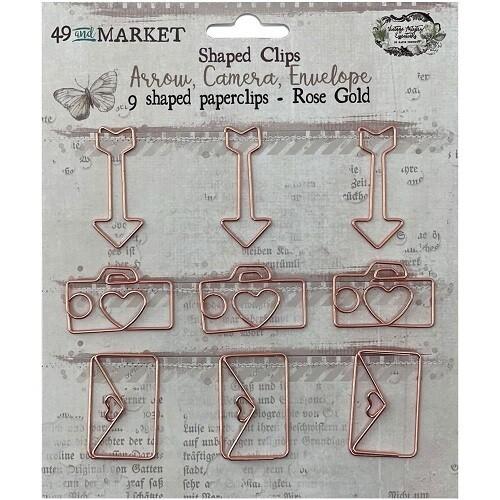 49 & Market - Vintage Artistry - Binder Clips - Rose Gold - Shapes
