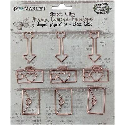 49 & Market - Vintage Artistry - Rose Gold Shaped Clips - Shapes