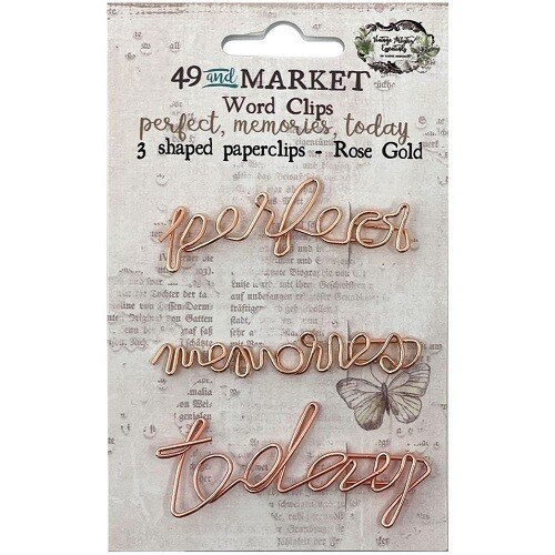 49 & Market - Vintage Artistry - Wire Shaped Clips - Rose Gold - Words