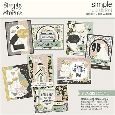 Simple Stories Card Kits - Just Married - 8 Cards