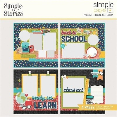 Simple Stories Page Kits - School Life Collection - Ready, Set, Learn - 4 Layouts