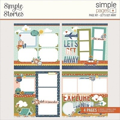 Simple Stories Page Kits - Safe Travels Collection - Let's Get Away - 4 Layouts