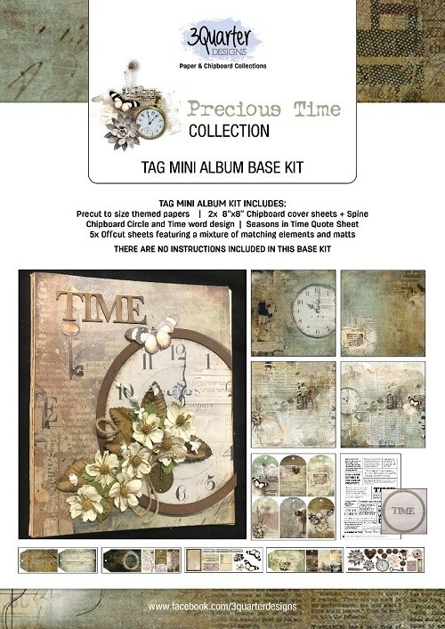 "3 Quarter Designs - 6"" x 8"" Tag Mini Album Base Kit - Precious Time"