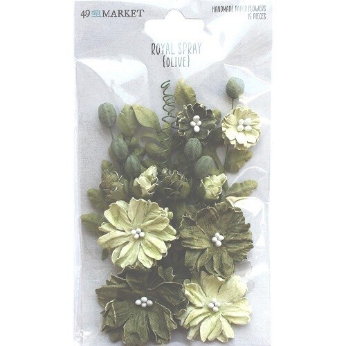 49 & Market Royal Spray Paper Flowers - Olive
