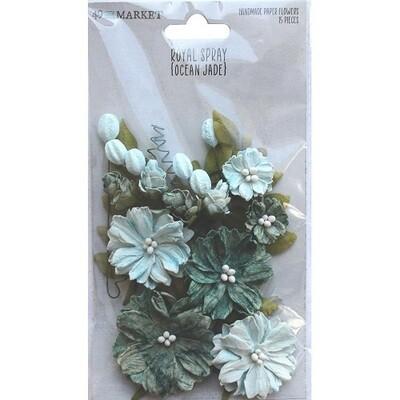 49 & Market Royal Spray Paper Flowers - Ocean Jade