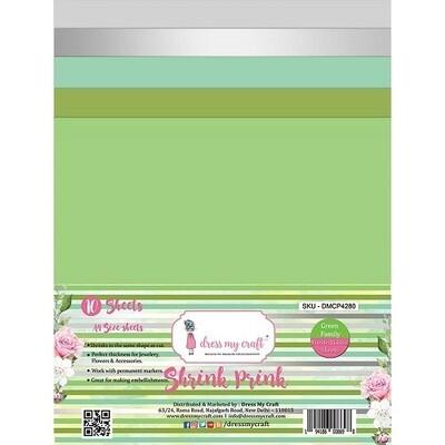 Dress My Craft - Shrink Pink - Frosted Sheets A4 - Green - 10 sheets