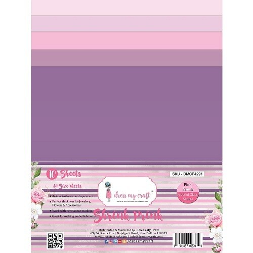 Dress My Craft - Shrink Pink - Frosted Sheets A4 - Pink Family - 10 sheets