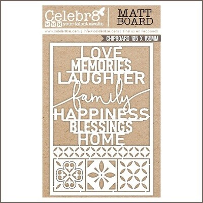 Celebr8 MB4638 - Love Memories Laughter - Chipboard