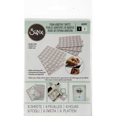 Sizzix - Foam Adhesive Sheets - 4 x 6 Double Sided - 3 Black & 3 White