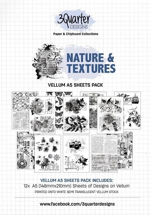 3 Quarter Designs - Vellum A5 12 Sheet Pack - Nature and Textures
