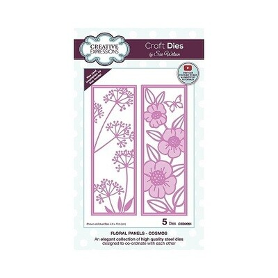 Creative Expressions - Craft Dies By Sue Wilson - CED 2051 - Floral Panels - Cosmos - 5 pcs