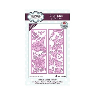 Creative Expressions - Craft Dies By Sue Wilson - CED 2053 - Floral Panels - Peony - 5 pcs