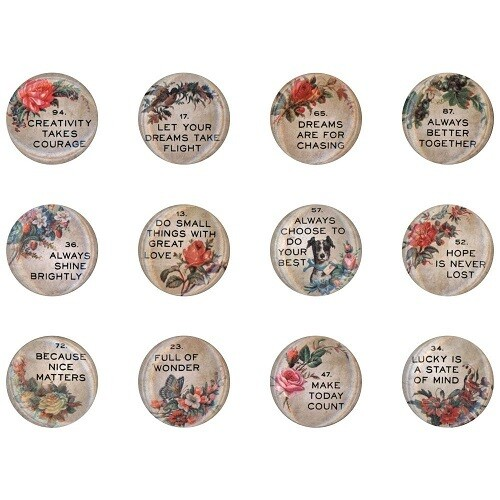 Tim Holtz - Idea - ology - Family Quote Buttons - TH94116 - 12pcs