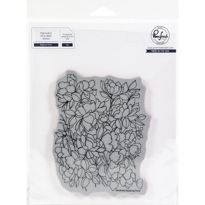 """PinkFresh Studios - Cling Rubber Background Stamp - Blushing Florals - 6.25"""" x 7.25"""" - PFCR1920"""