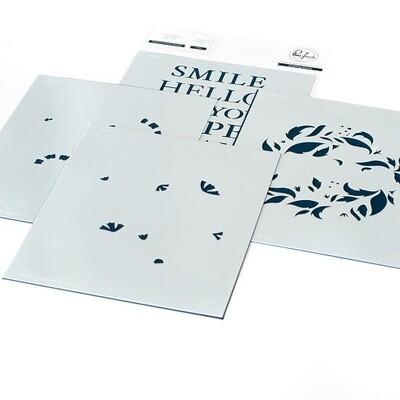 PinkFresh Studios - Reason To Smile - Layered Stencils - 114421 -  4 pieces