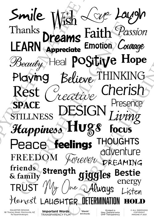 3 Quarter Designs - Acetate - Important Words - A4
