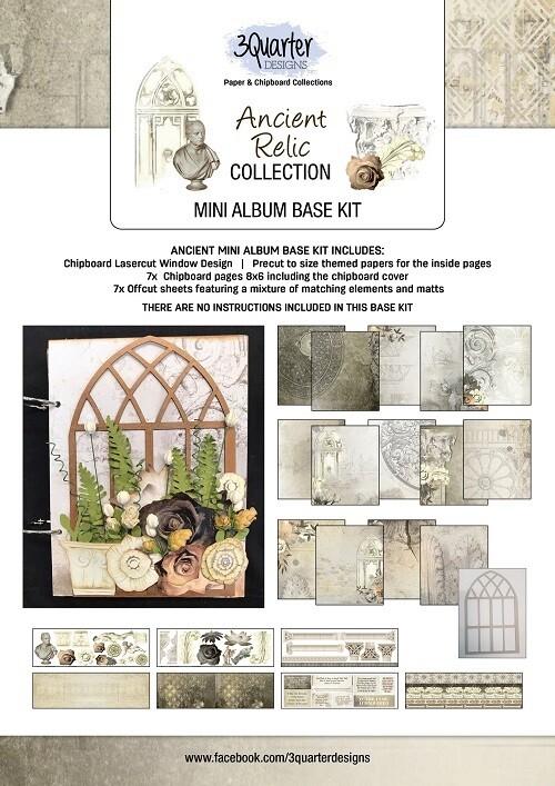 """3 Quarter Designs - 6"""" x 8""""  Ancient Relic Collection - Mini Album Base Kit"""