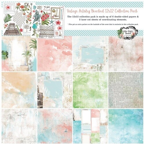 49 & Market - Vintage Artistry Travel - Beached - Paper Collection - 12 x 12