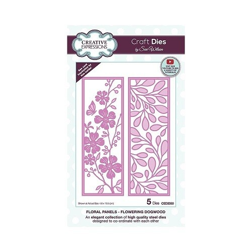 Creative Expressions - Craft Dies By Sue Wilson - CED 2050 - Floral Panels - Flowering Dogwood - 5 pcs