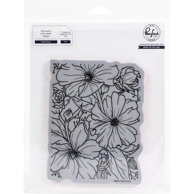 """PinkFresh Studios - Cling Rubber Background Stamp -  Floral Focus - 4.25"""" x 5.5"""" - 108421"""