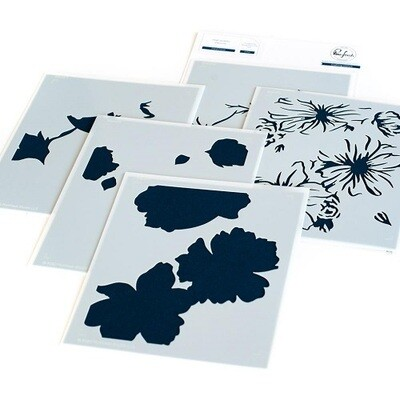 PinkFresh Studios - Floral Focus - Layered Stencils - 108521 - 5 pieces