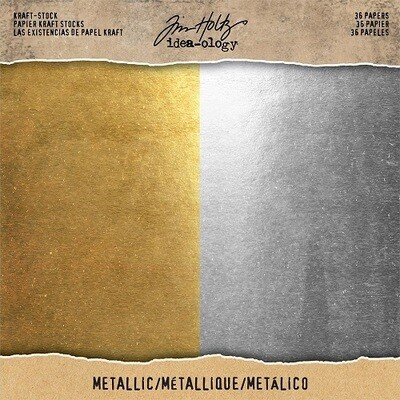 "Tim Holtz - Idea-Ology - Gold & Silver Metallic - Paper pad - 8"" x 8"" - TH93586"