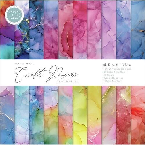 Craft Consortium - Ink Drops - Vivid - 12 x 12 Pad - 20 designs