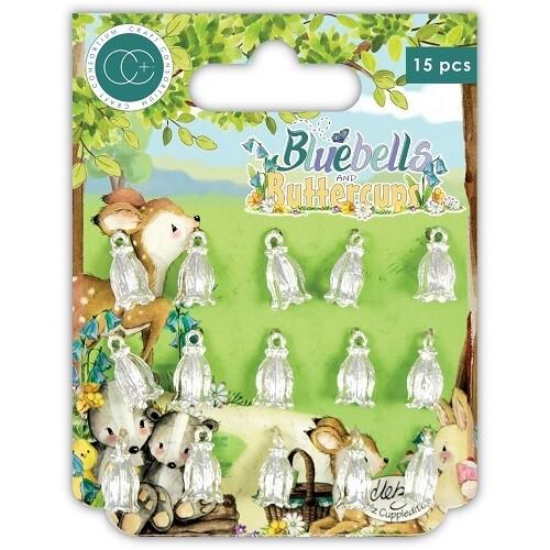 Craft Consortium - Bluebells & Buttercups Charms - Silver Bluebells - 12 pack