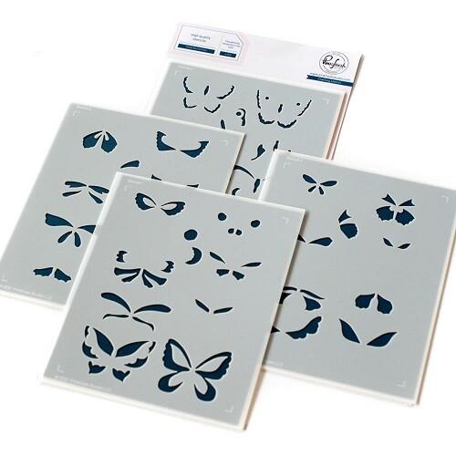 PinkFresh Studios - Butterflies Small  - Layered Stencils - 118821 - 4 pieces