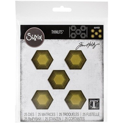 Sizzix - Framelits Dies - by Tim Holtz - Stacked Tiles - Hexagons - 664420