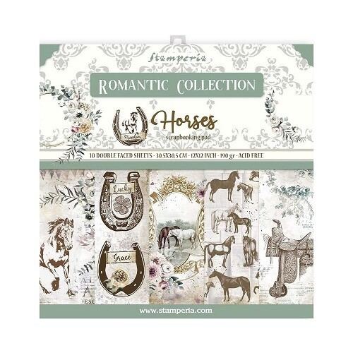 """Stamperia - Romantic Collection - Horses - 12"""" x 12"""" Papers - 10 sheets - SBBL90"""