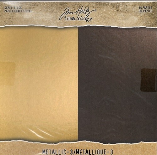 """Tim Holtz - idea-ology - Noir and Champagne - 8"""" x 8"""" Paper Pad"""