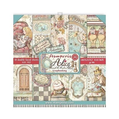 """Stamperia - Alice Through the Looking Glass - 6"""" x 6"""" - Scrap Pad"""
