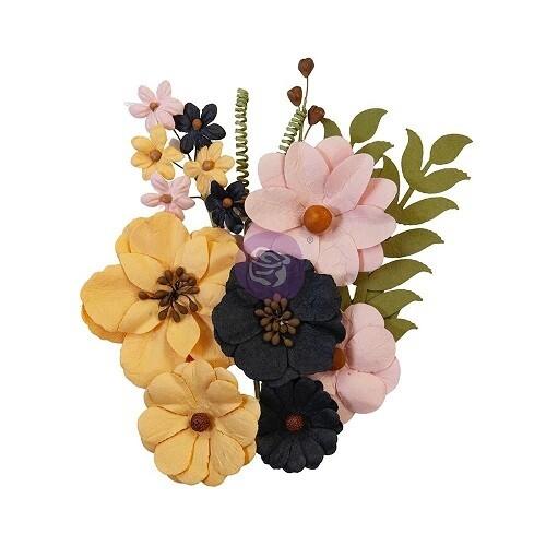 Prima Marketing - 31 - All Hallows Eve Paper Flowers - 12 pcs