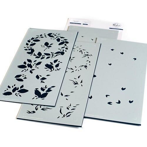 PinkFresh Studios - Slimline - Indigo Vines - PF122721 - Layered Stencil 4 pieces