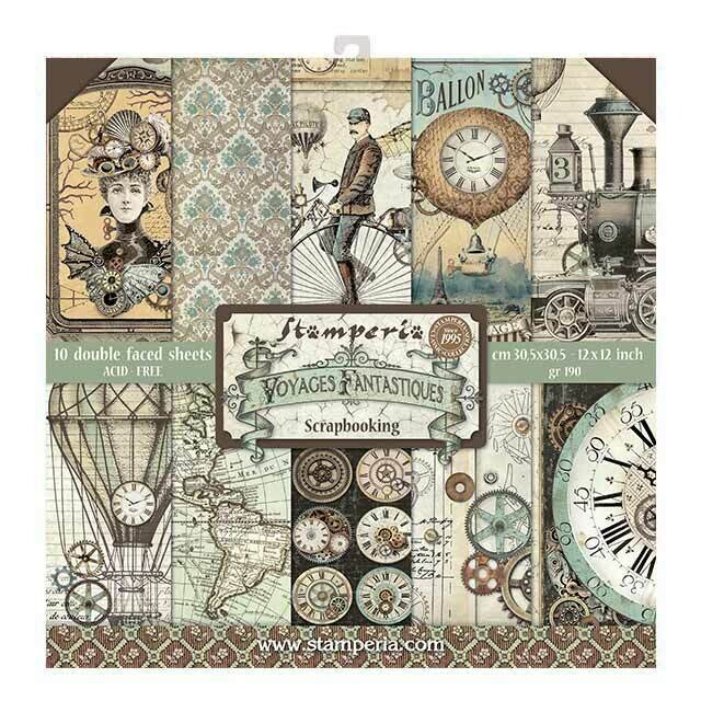 """Stamperia - Voyages Fantastique Collection - 12"""" x 12"""" Papers - 10 sheets - SBBL53"""