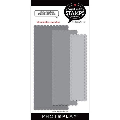 Photoplay - Slimline Dies - #9 Stitched Scallops Etched Die - SIS2833