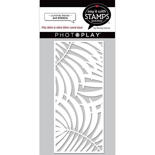 "Photoplay - Slimline Stencil - Summer Leaves - 4"" x 9"" Stencil - SIS2854"
