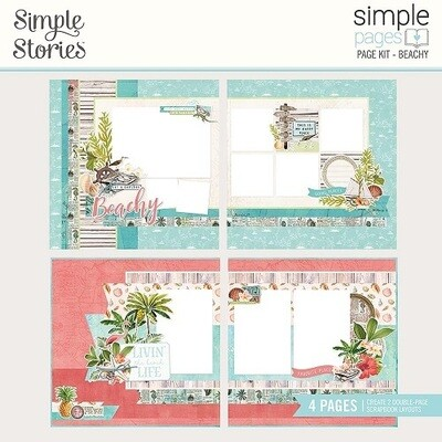 Simple Stories Page Kit - Vintage Coastal Collection - Beachy - 4 Layouts