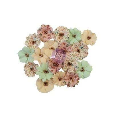 Prima Marketing Mulberry Paper Flowers - Hello Pink Autumn - Cozy Evening  - 18 pcs - 655112